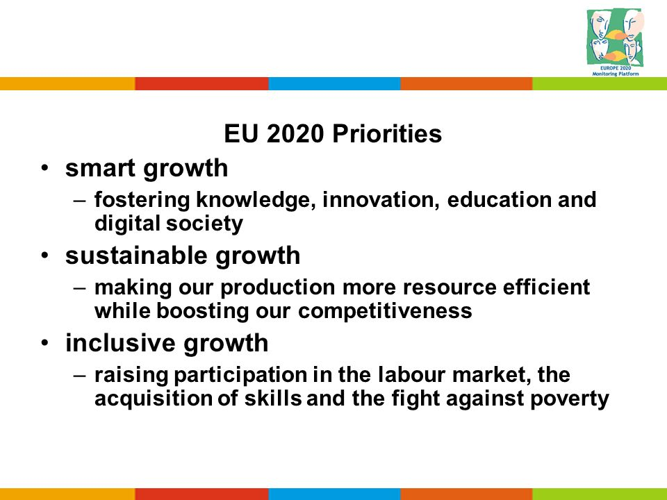 EU 2020 Priorities smart growth sustainable growth inclusive growth