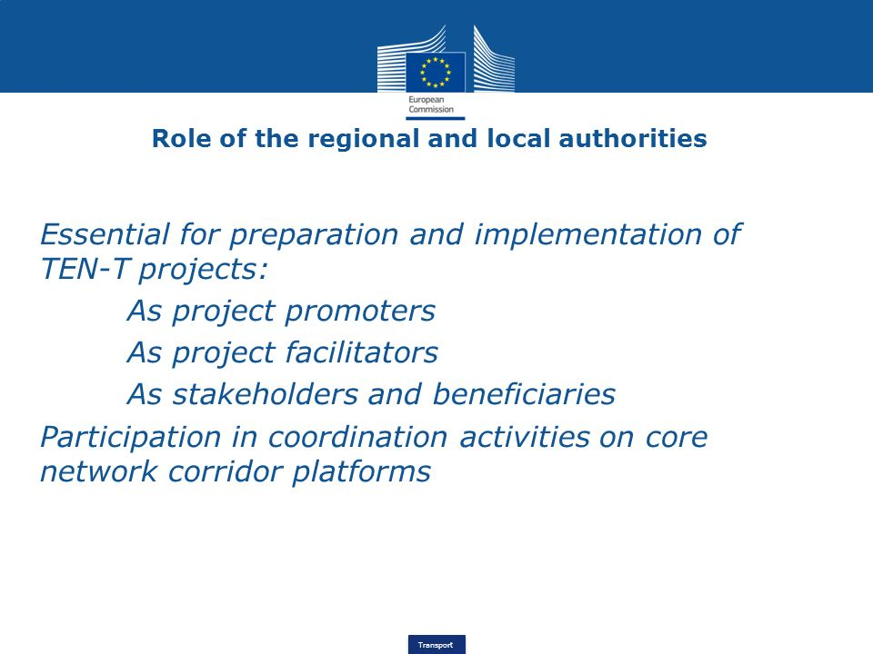 Role of the regional and local authorities