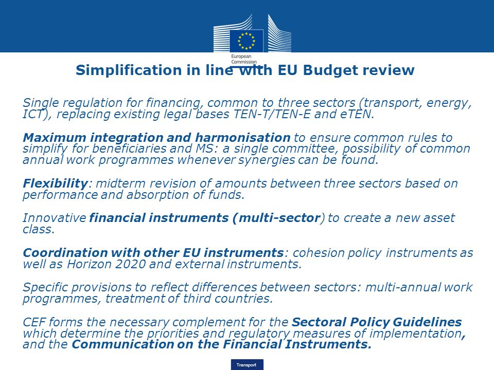 Simplification in line with EU Budget review