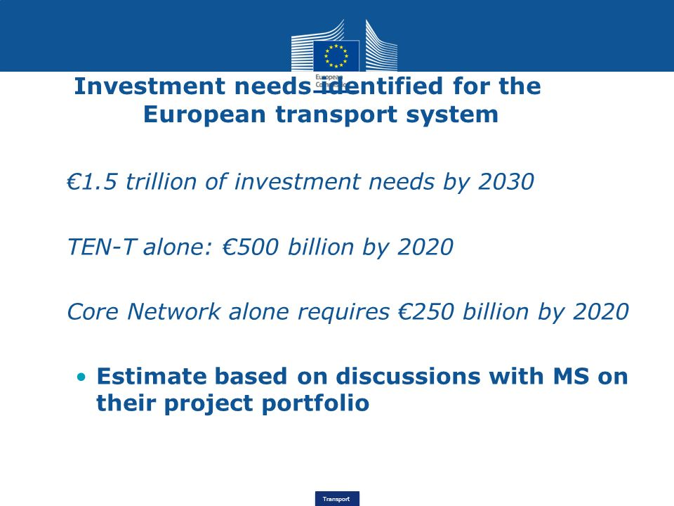 Investment needs identified for the European transport system