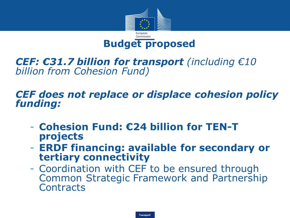 CEF does not replace or displace cohesion policy funding: