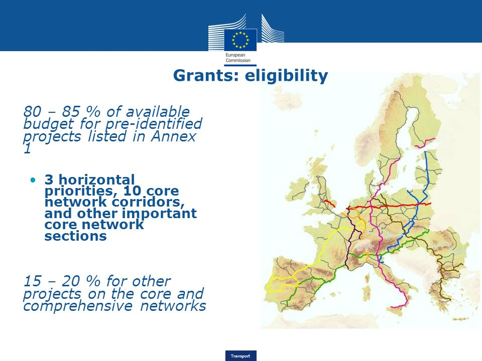 Grants: eligibility 80 – 85 % of available budget for pre-identified projects listed in Annex 1.
