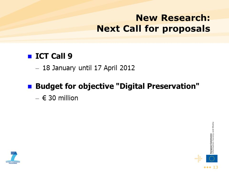 New Research: Next Call for proposals