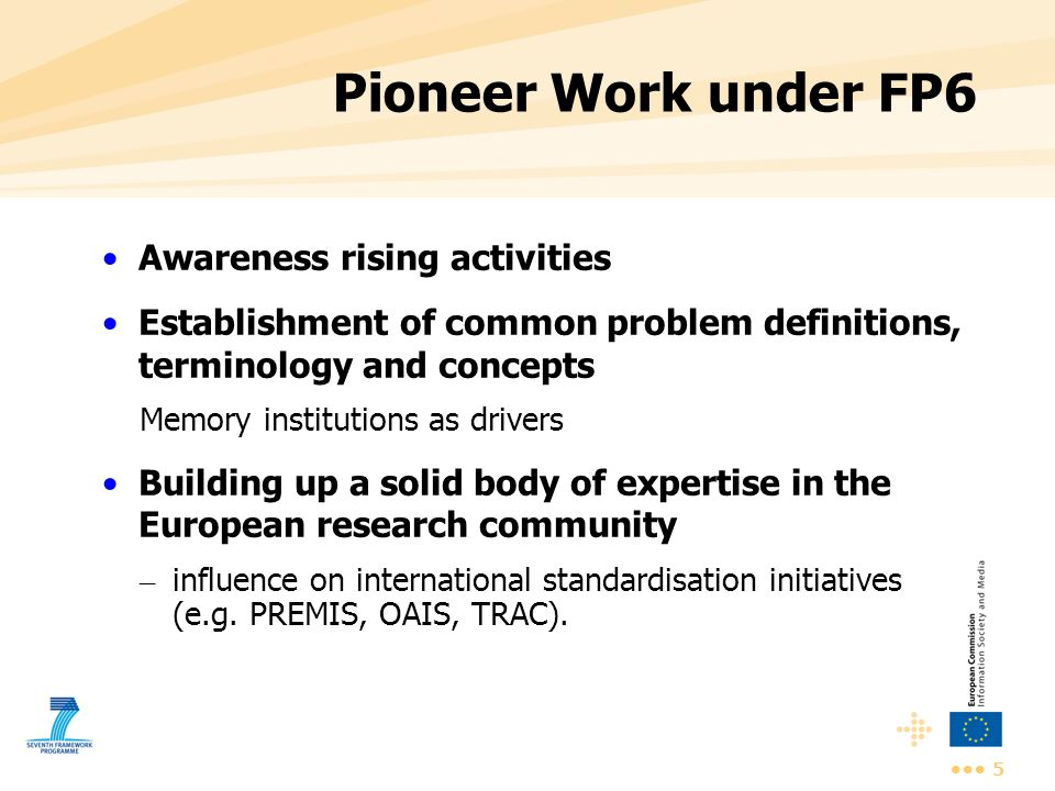 Pioneer Work under FP6 Awareness rising activities
