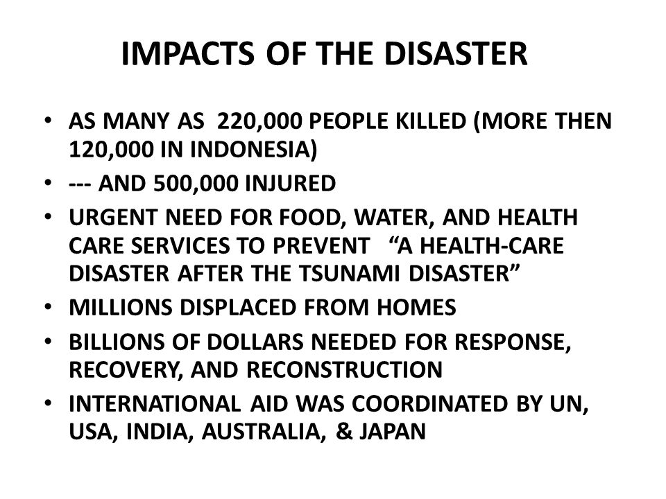 IMPACTS OF THE DISASTER