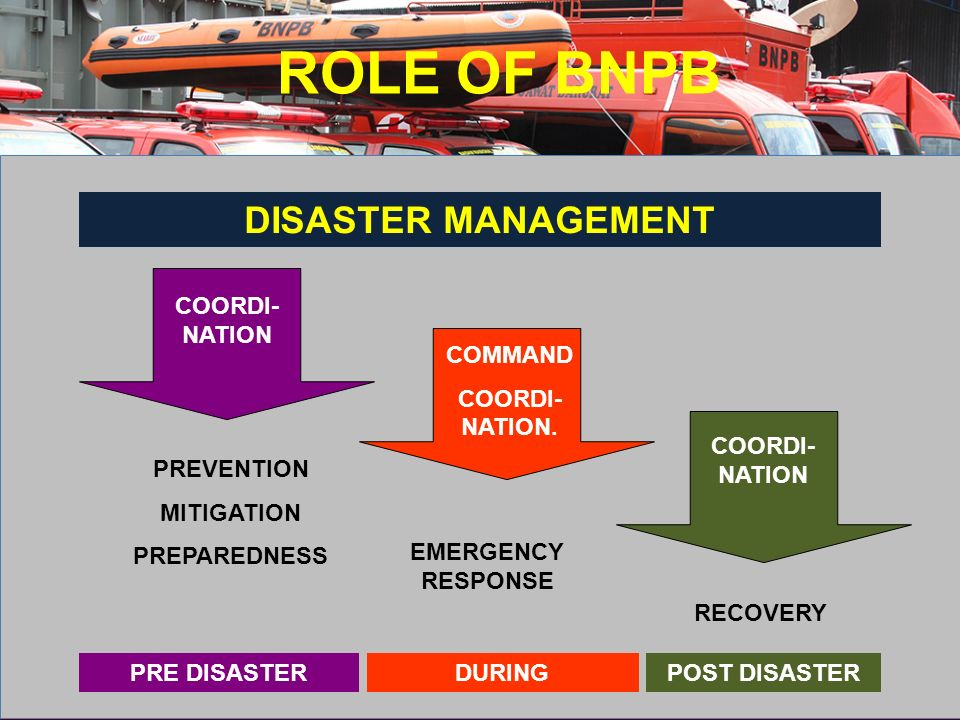 ROLE OF BNPB DISASTER MANAGEMENT COORDI-NATION COMMAND COORDI-NATION.