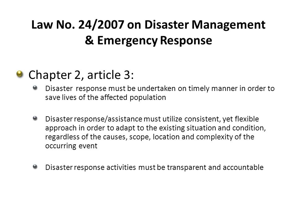 Law No. 24/2007 on Disaster Management & Emergency Response
