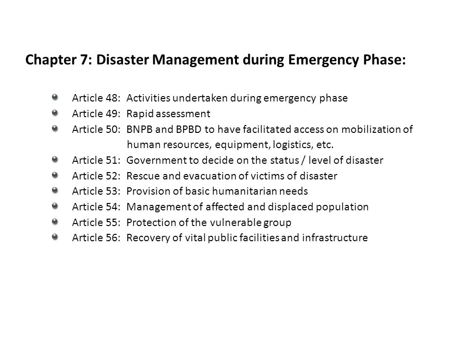 Chapter 7: Disaster Management during Emergency Phase: