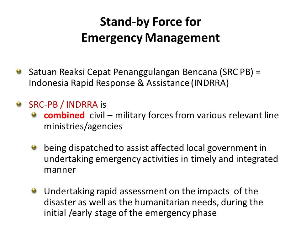 Stand-by Force for Emergency Management
