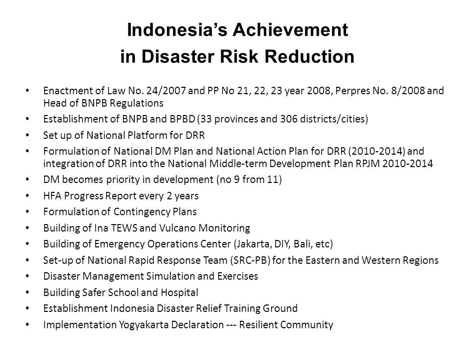 Indonesia's Achievement in Disaster Risk Reduction
