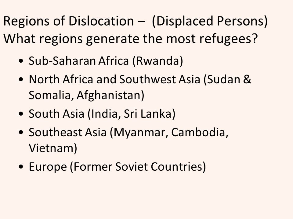 Regions of Dislocation – (Displaced Persons) What regions generate the most refugees
