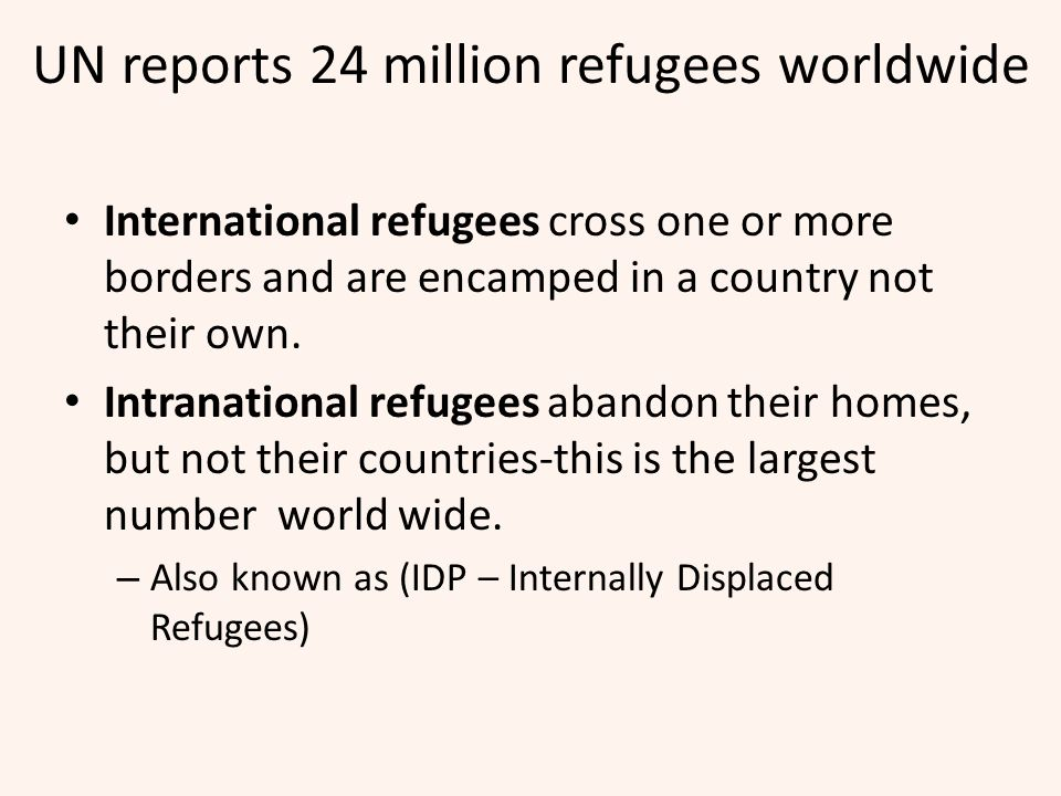 UN reports 24 million refugees worldwide
