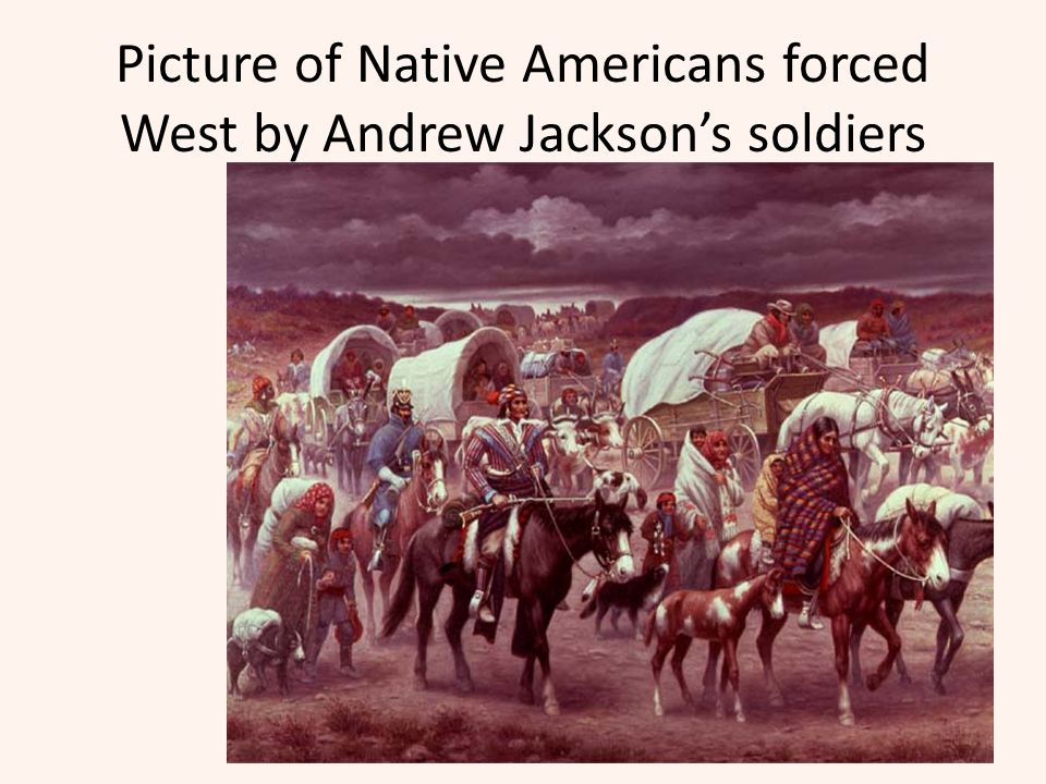 Picture of Native Americans forced West by Andrew Jackson's soldiers