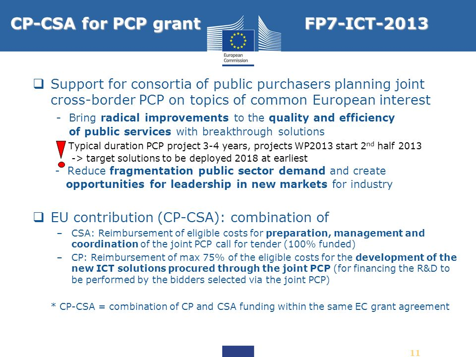 CP-CSA for PCP grant FP7-ICT-2013