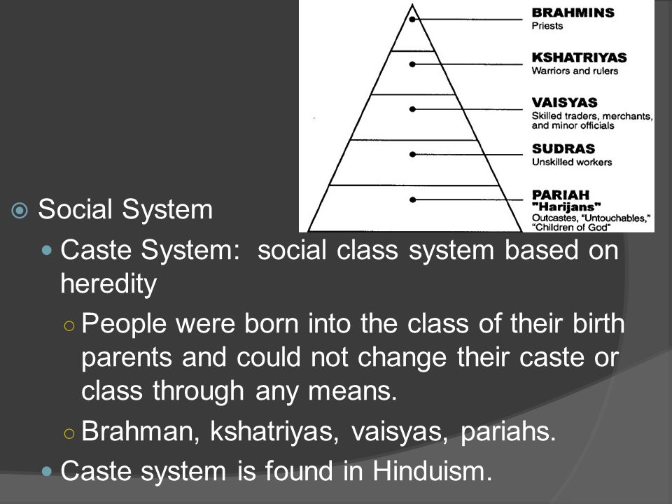 Social System Caste System: social class system based on heredity.