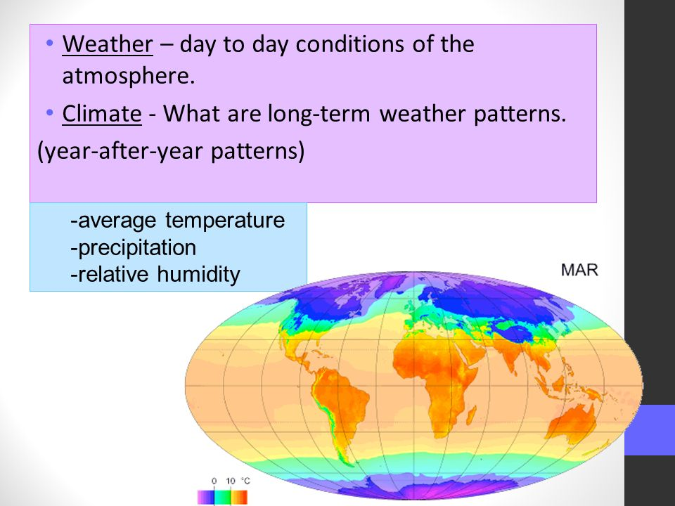 Weather – day to day conditions of the atmosphere.