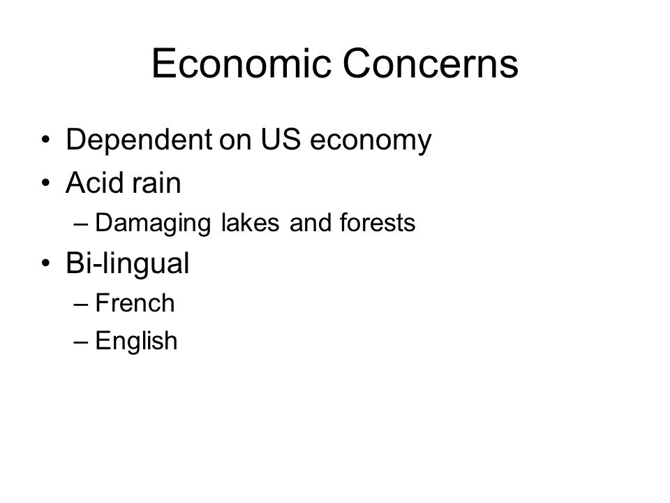 Economic Concerns Dependent on US economy Acid rain Bi-lingual