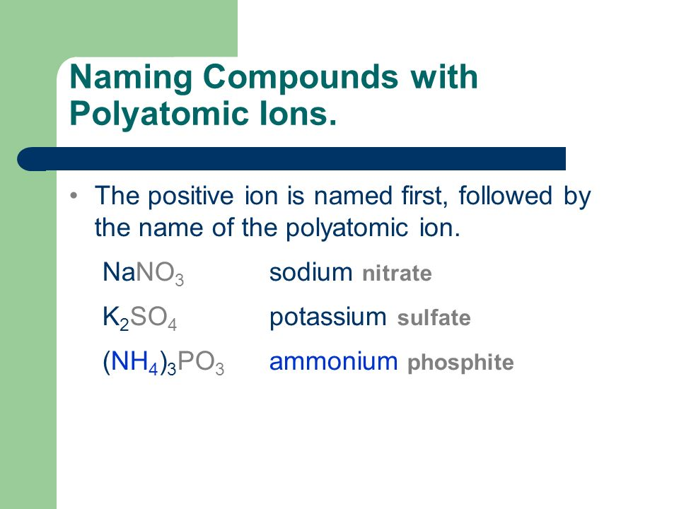 Naming Compounds with Polyatomic Ions.