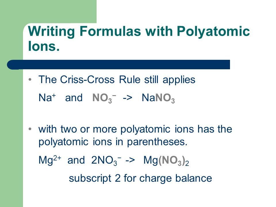 Writing Formulas with Polyatomic Ions.