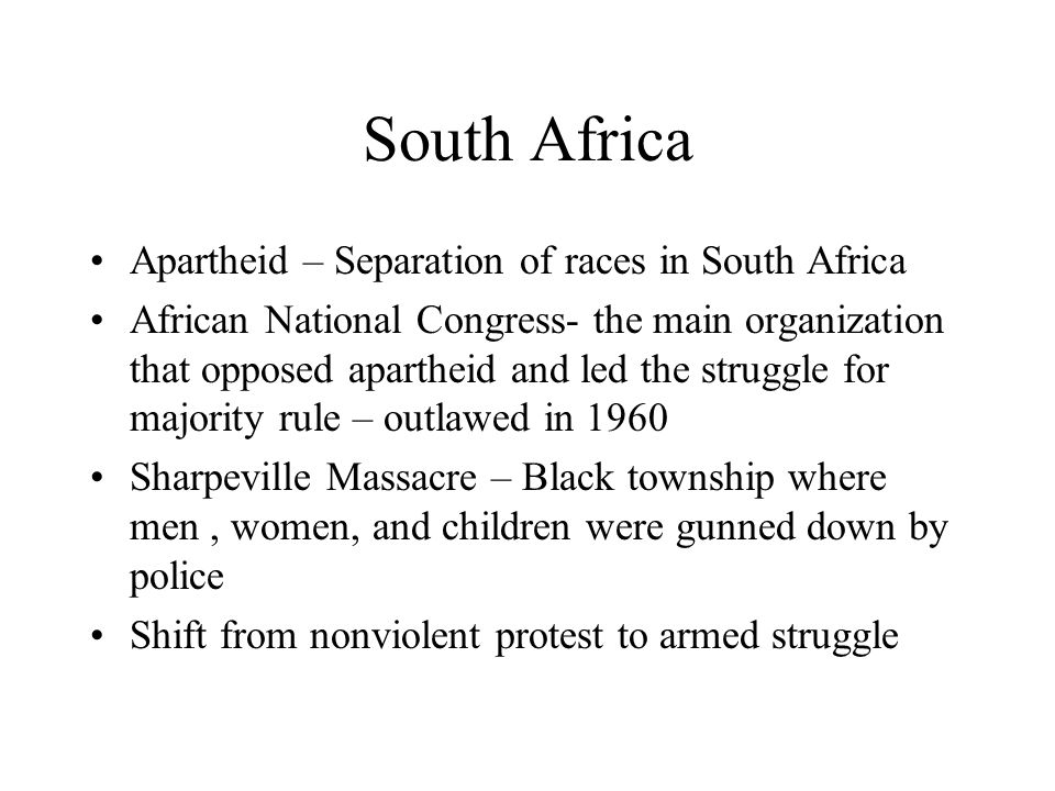 South Africa Apartheid – Separation of races in South Africa