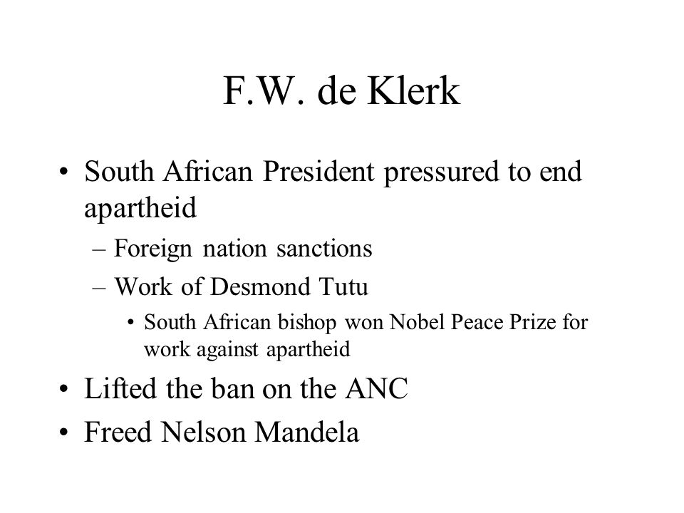 F.W. de Klerk South African President pressured to end apartheid