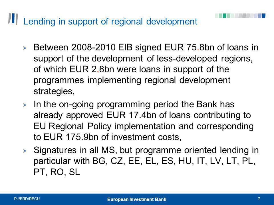 Lending in support of regional development
