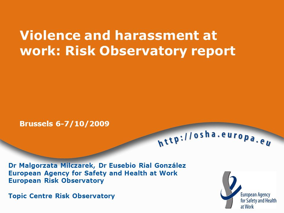Violence and harassment at work: Risk Observatory report
