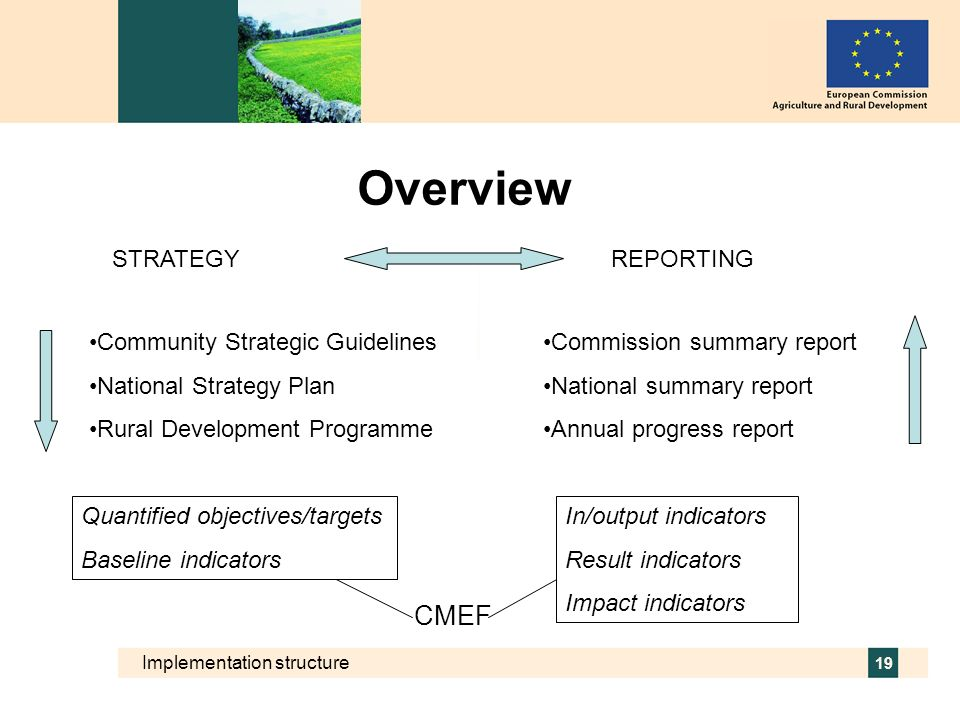 Overview CMEF STRATEGY REPORTING Community Strategic Guidelines