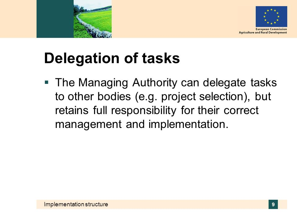Delegation of tasks
