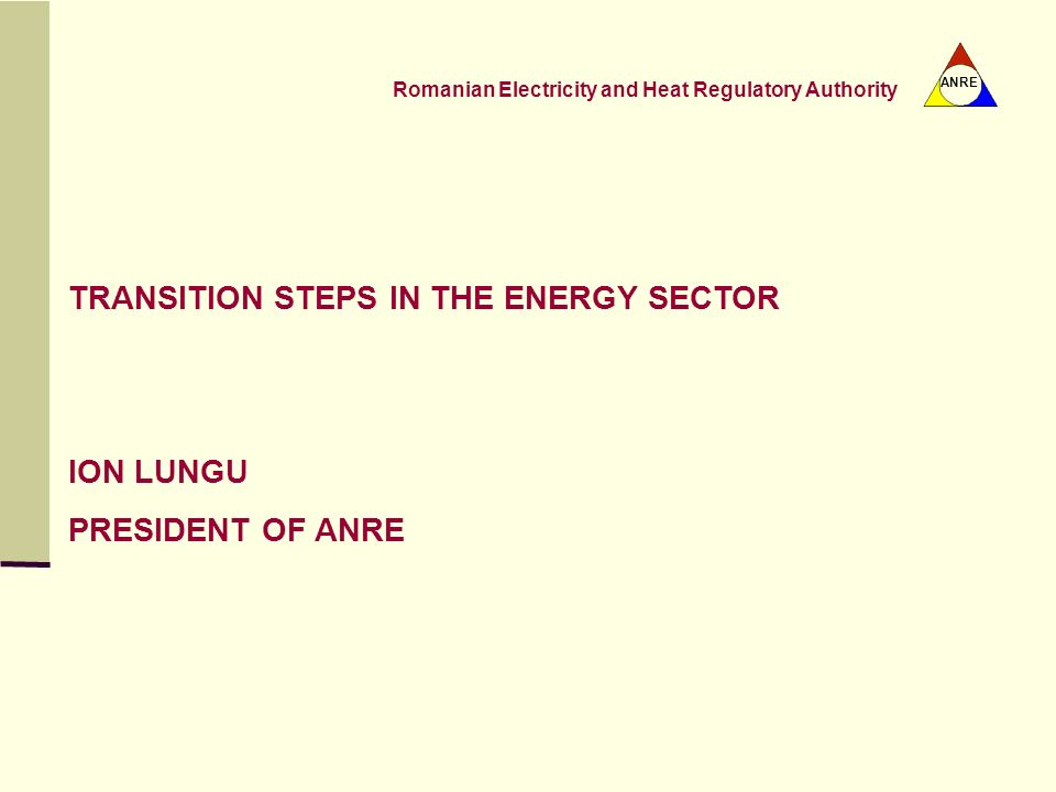 TRANSITION STEPS IN THE ENERGY SECTOR