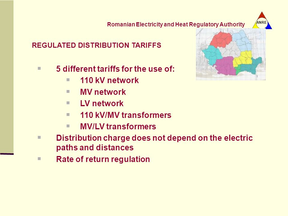 5 different tariffs for the use of: 110 kV network MV network