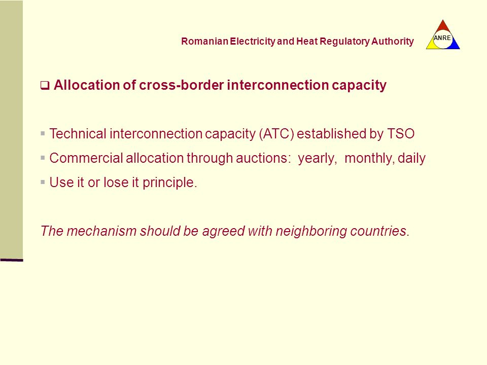 Technical interconnection capacity (ATC) established by TSO