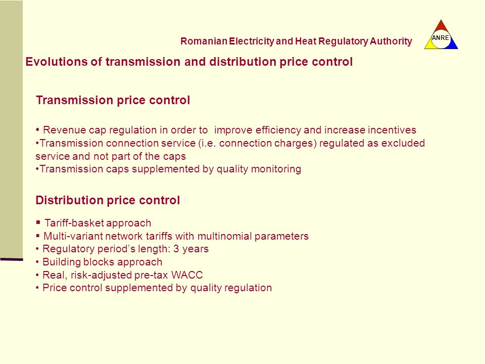Evolutions of transmission and distribution price control