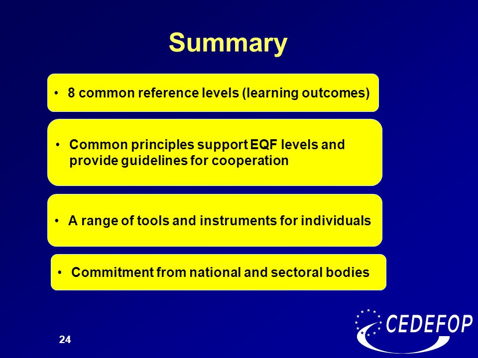 Summary 8 common reference levels (learning outcomes)