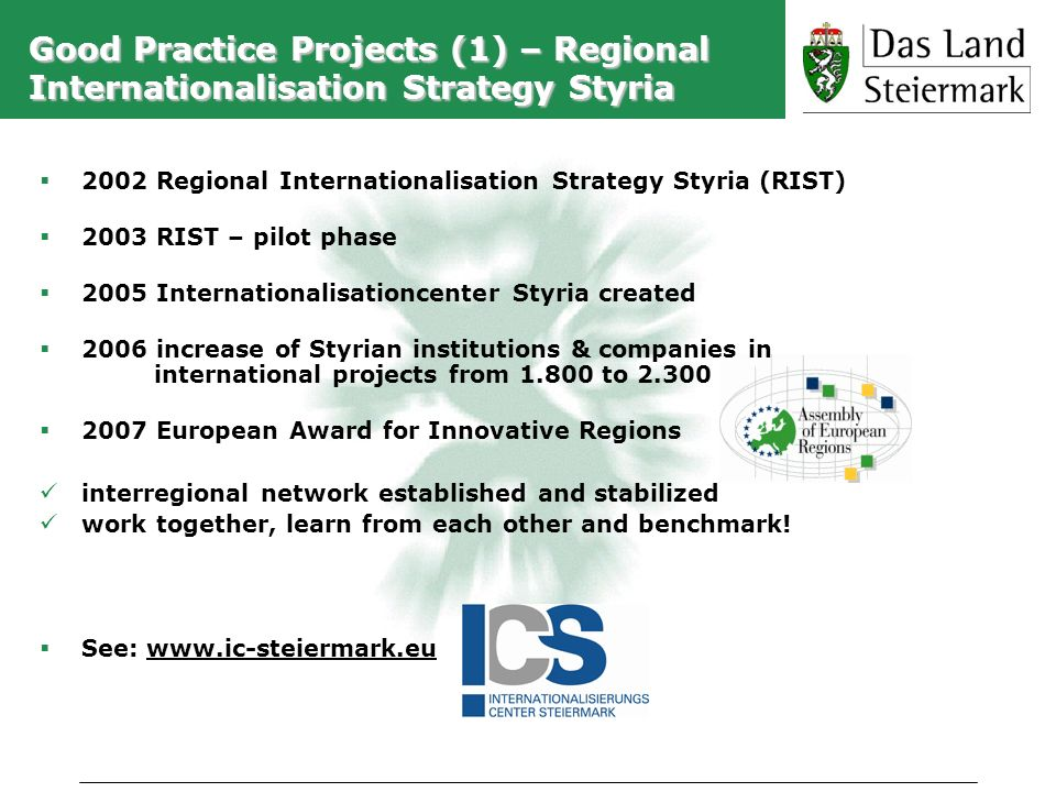 Good Practice Projects (1) – Regional Internationalisation Strategy Styria