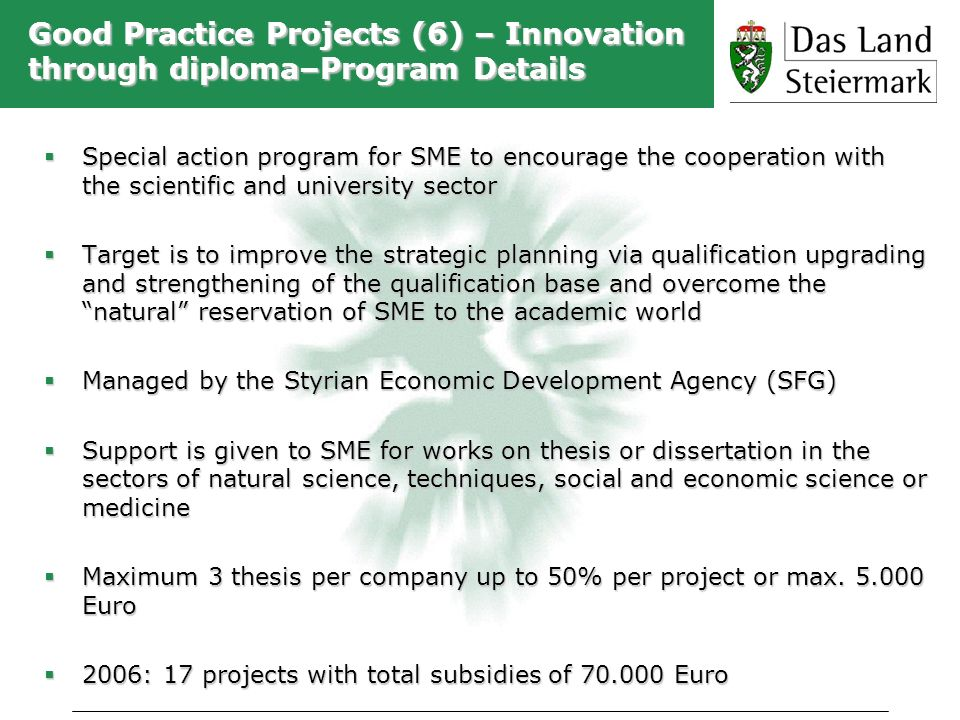Good Practice Projects (6) – Innovation through diploma–Program Details