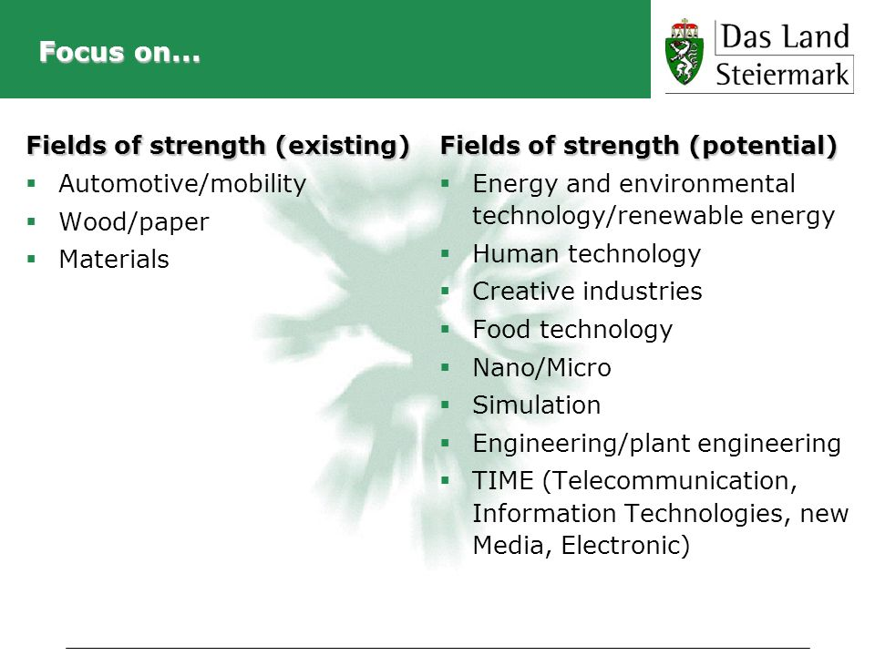 Focus on... Fields of strength (existing) Automotive/mobility