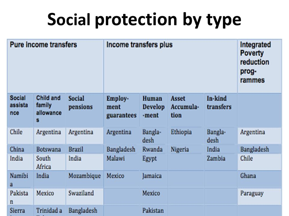 Social protection by type