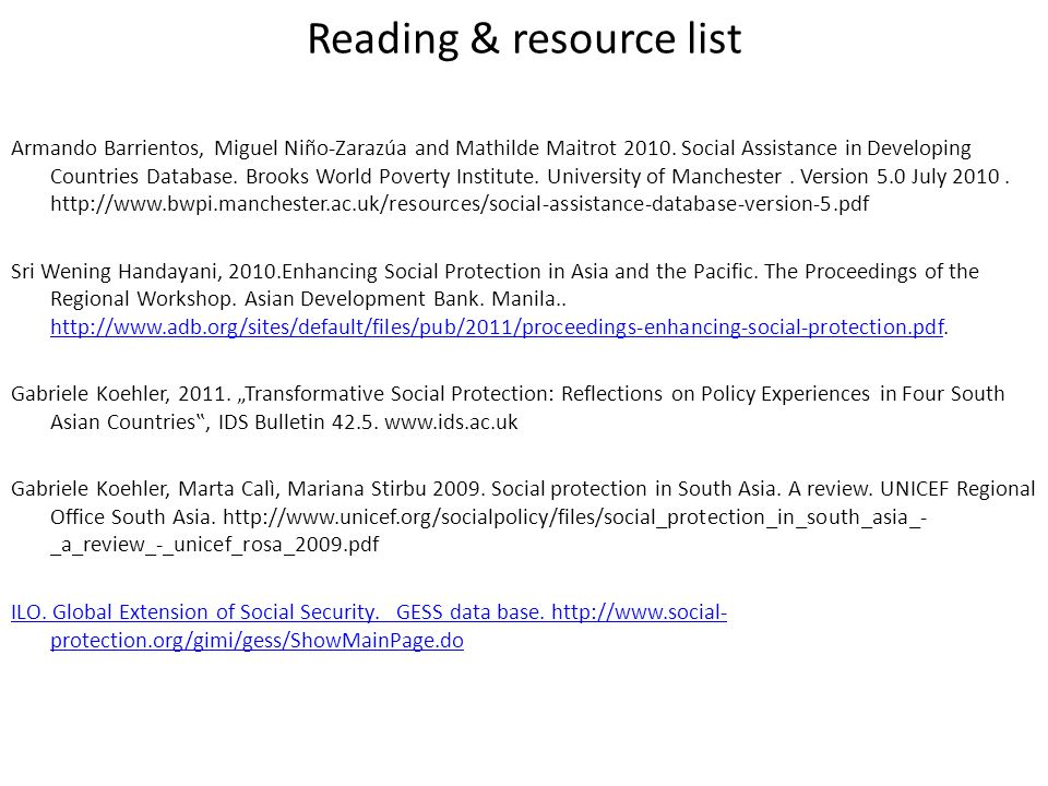 Reading & resource list