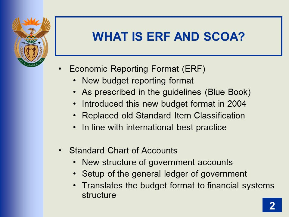 introduction to the economic reproting format erf and scoa ppt
