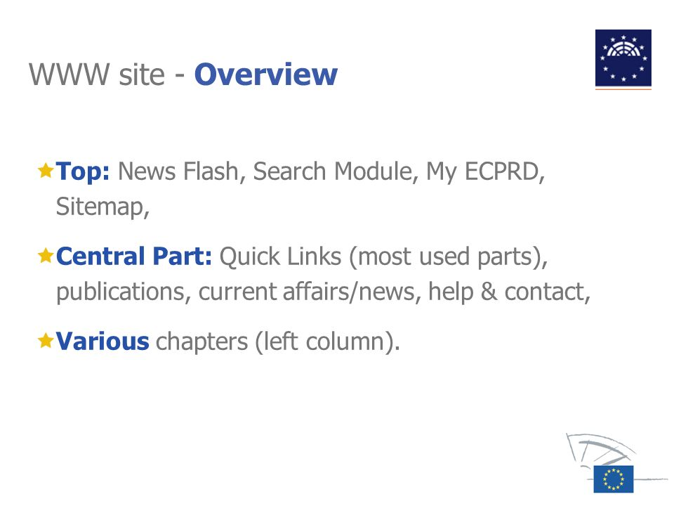 WWW site - Overview Top: News Flash, Search Module, My ECPRD, Sitemap,