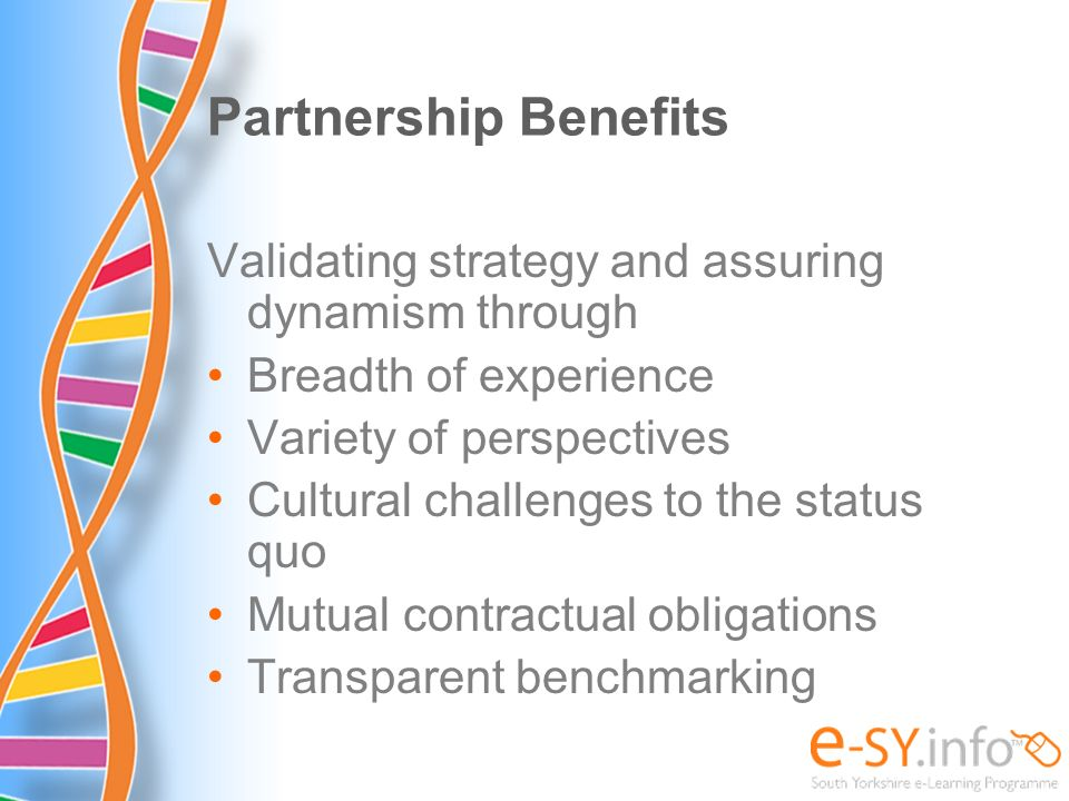 Partnership Benefits Validating strategy and assuring dynamism through