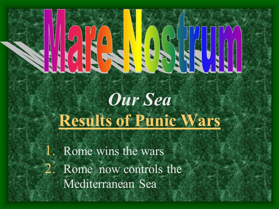 Our Sea Results of Punic Wars Mare Nostrum Rome wins the wars