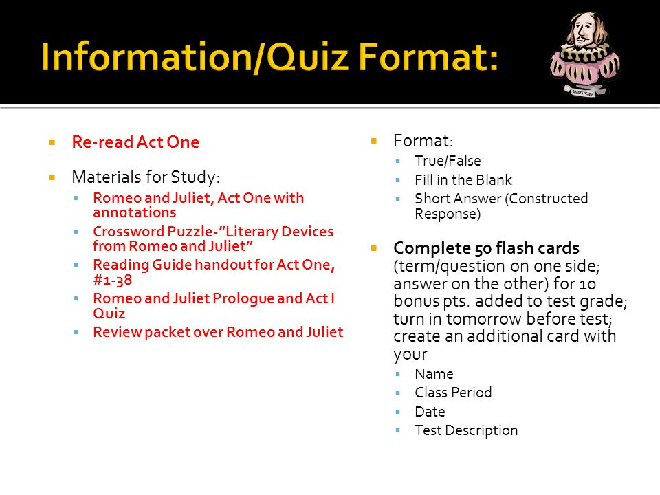 Romeo And Juliet Act One Test Wednesday February 18 Ppt Download