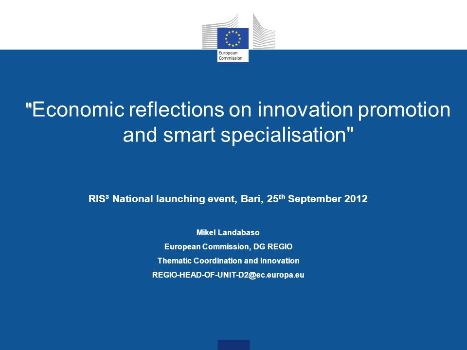 Economic reflections on innovation promotion and smart specialisation