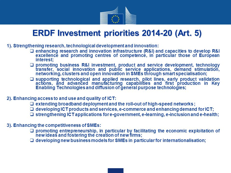 ERDF Investment priorities 2014-20 (Art. 5)