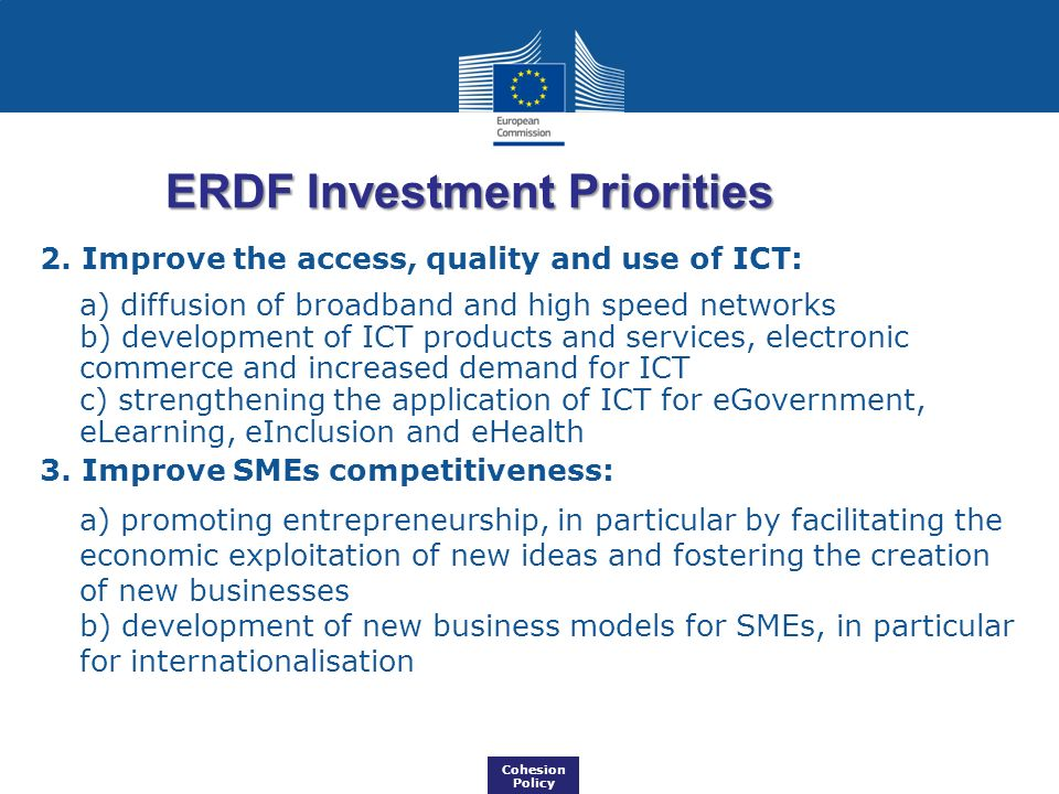 ERDF Investment Priorities
