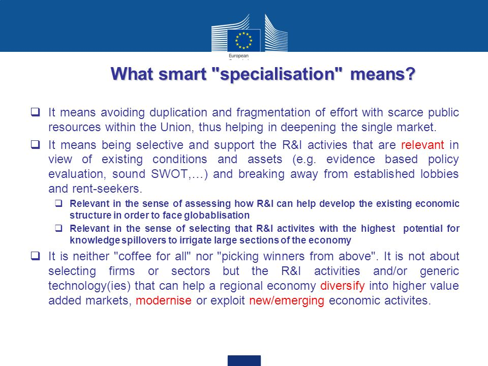 What smart specialisation means