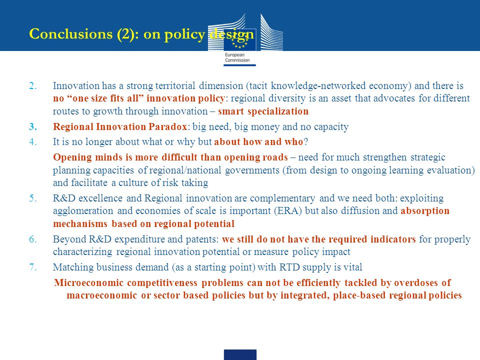 Conclusions (2): on policy design