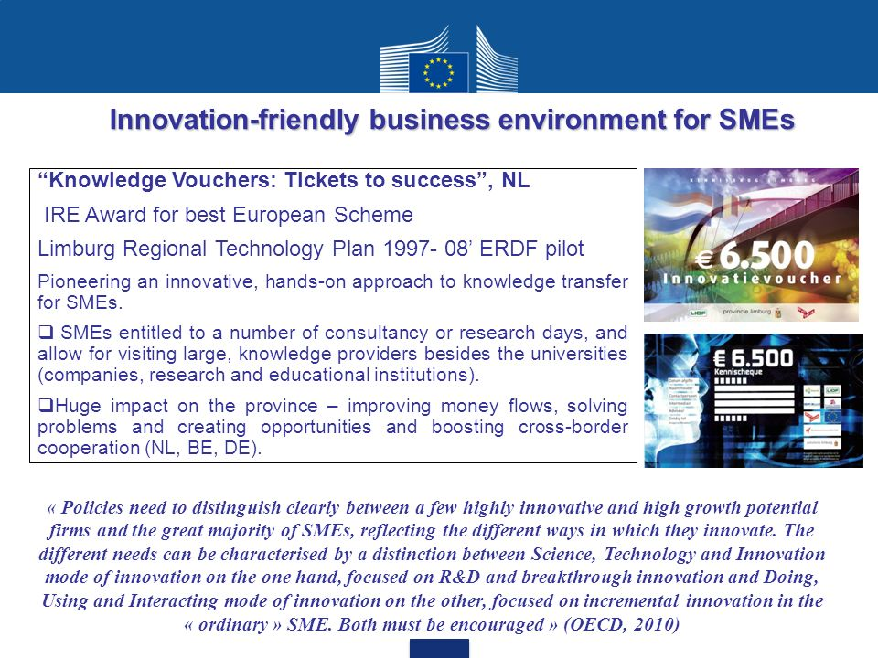 Innovation-friendly business environment for SMEs